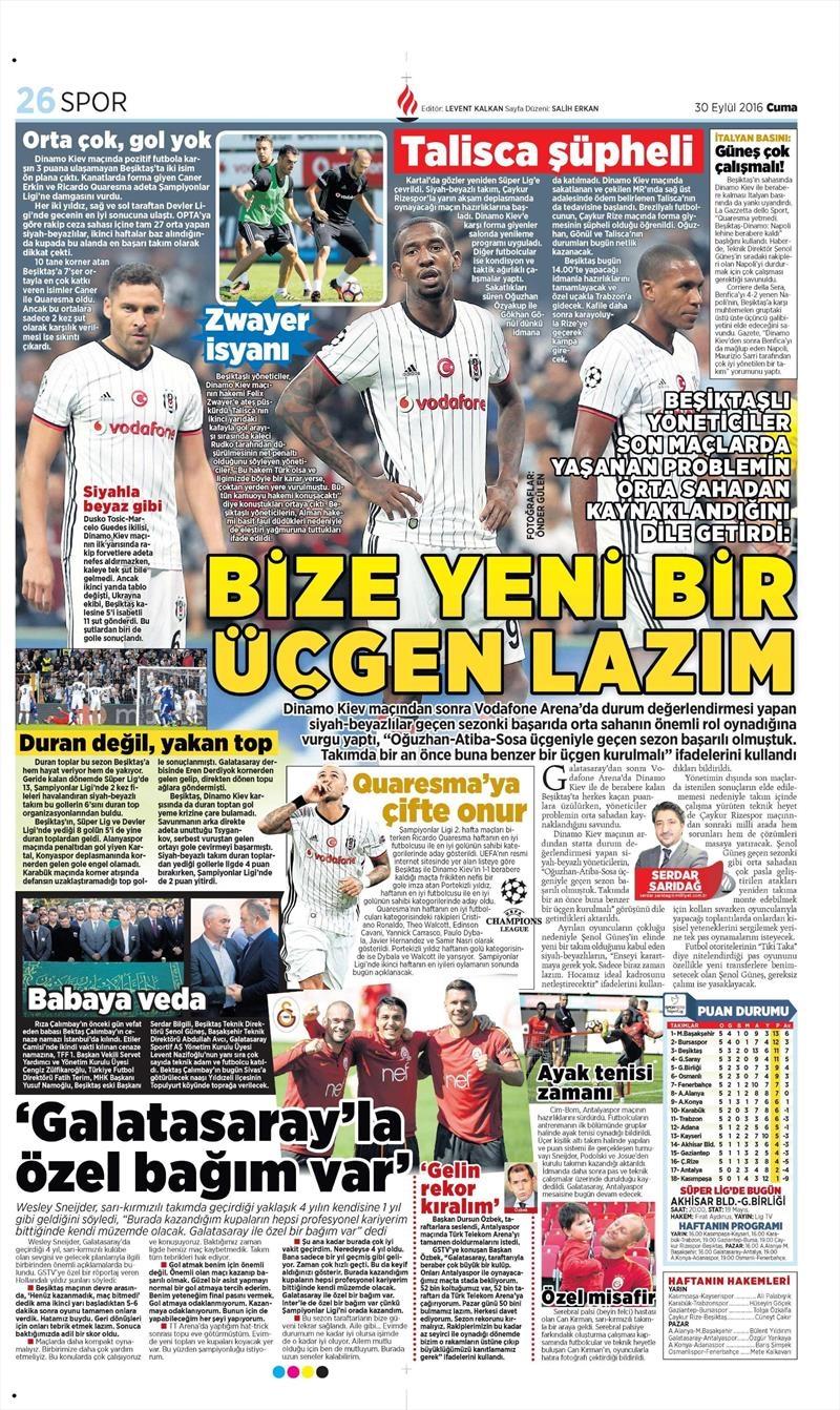 30 Eylül 2016 | Beşiktaş sayfaları 7