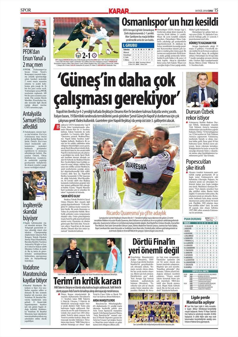 30 Eylül 2016 | Beşiktaş sayfaları 8