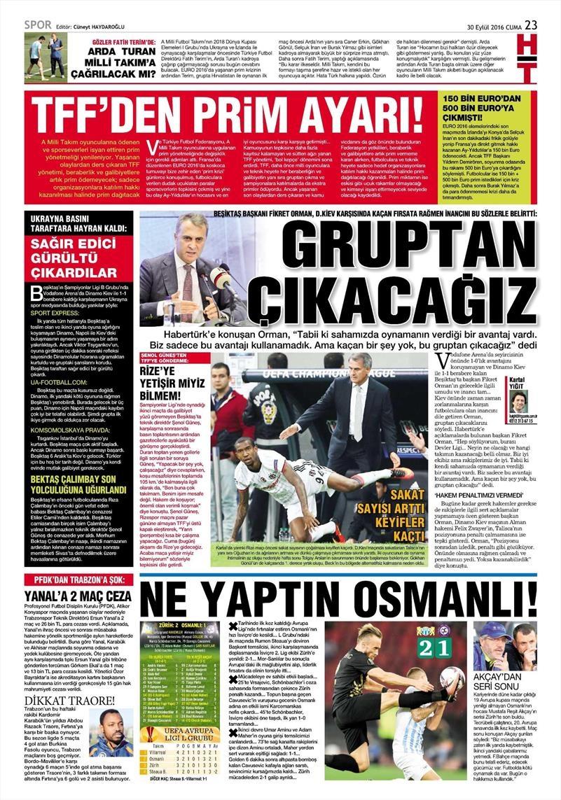 30 Eylül 2016 | Beşiktaş sayfaları 9