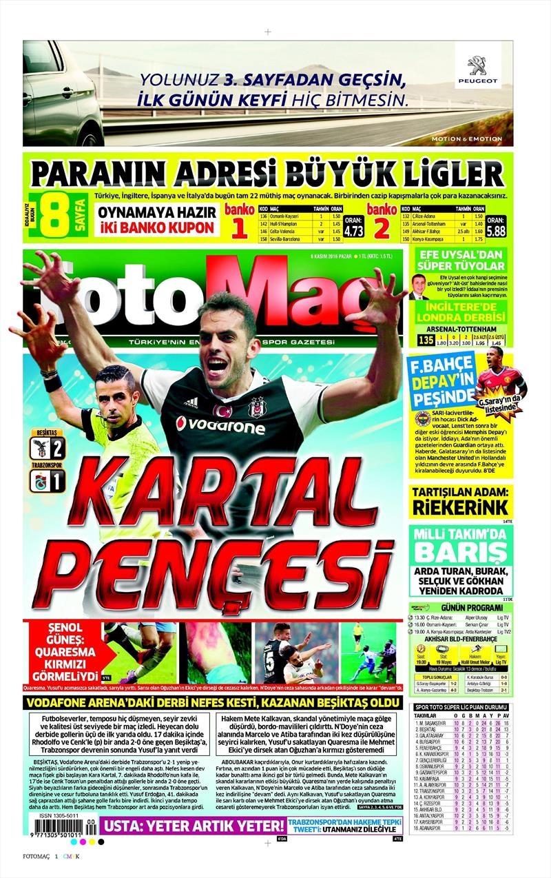 6 Kasım 2016 | Gazetelerin Beşiktaş sayfaları 10