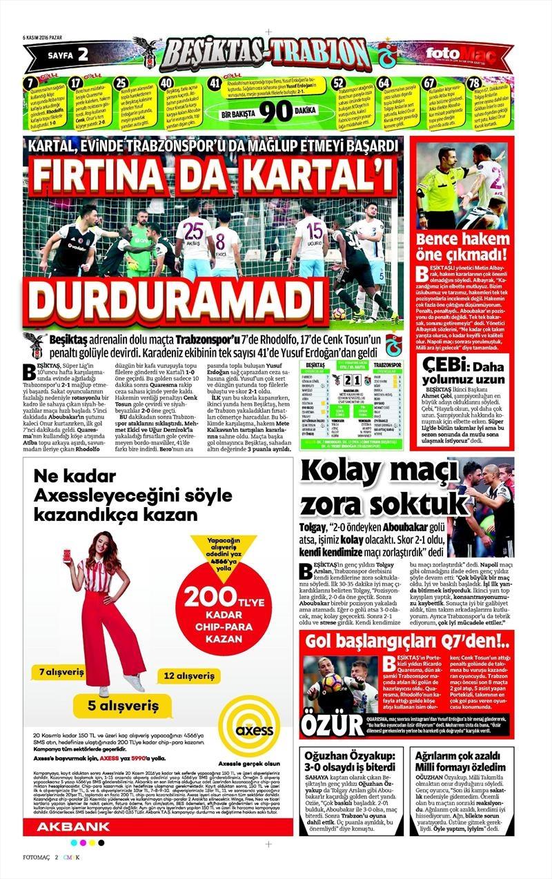 6 Kasım 2016 | Gazetelerin Beşiktaş sayfaları 11