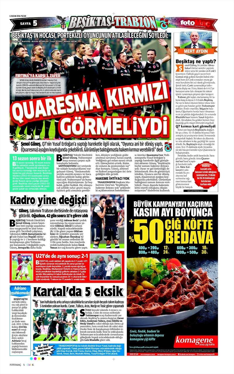 6 Kasım 2016 | Gazetelerin Beşiktaş sayfaları 13