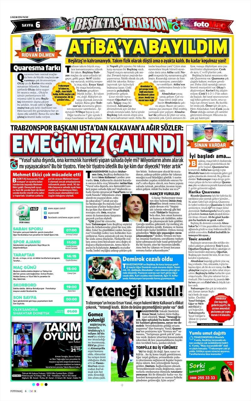 6 Kasım 2016 | Gazetelerin Beşiktaş sayfaları 14