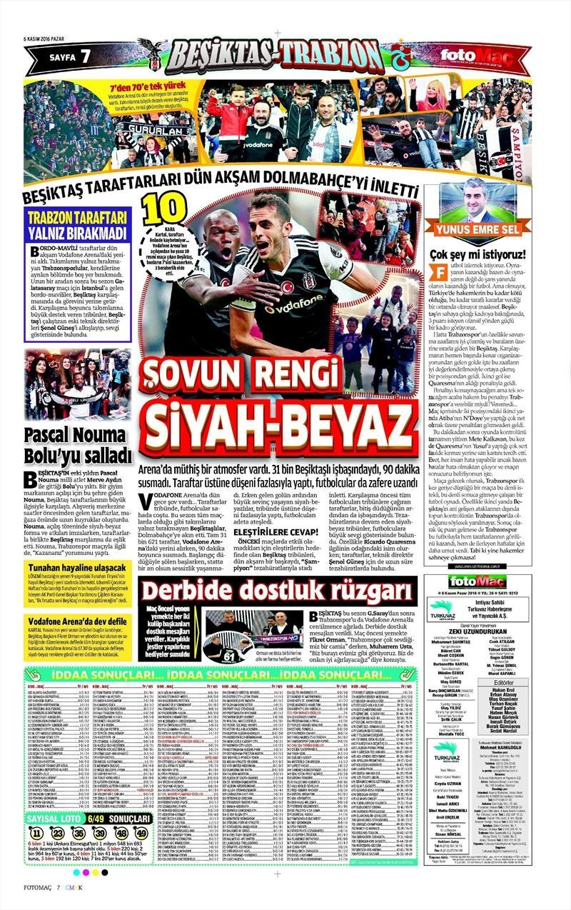 6 Kasım 2016 | Gazetelerin Beşiktaş sayfaları 15