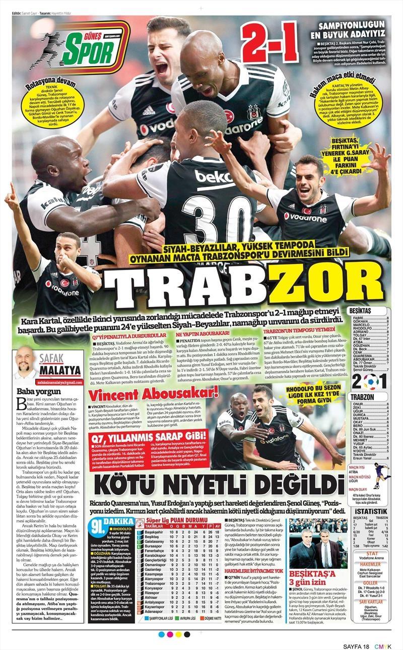 6 Kasım 2016   Gazetelerin Beşiktaş sayfaları 16