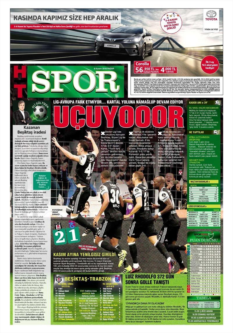 6 Kasım 2016 | Gazetelerin Beşiktaş sayfaları 17