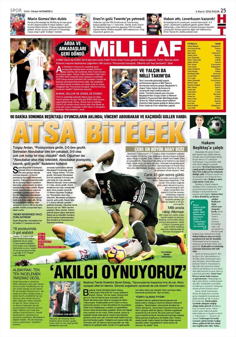 6 Kasım 2016 | Gazetelerin Beşiktaş sayfaları 18