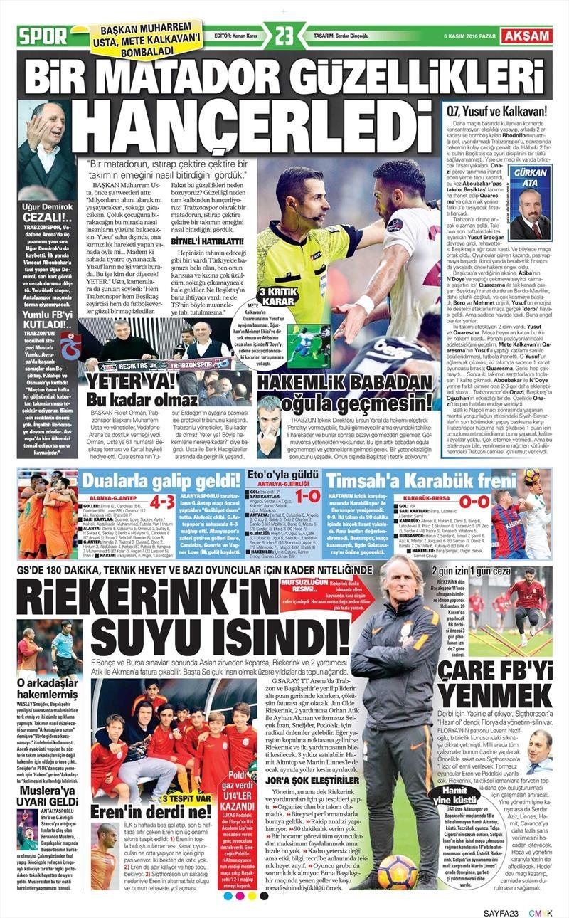 6 Kasım 2016 | Gazetelerin Beşiktaş sayfaları 2
