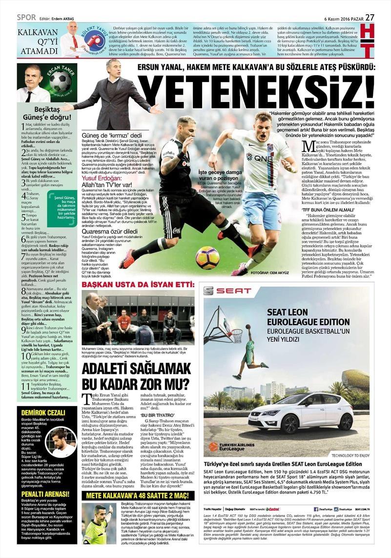 6 Kasım 2016 | Gazetelerin Beşiktaş sayfaları 20