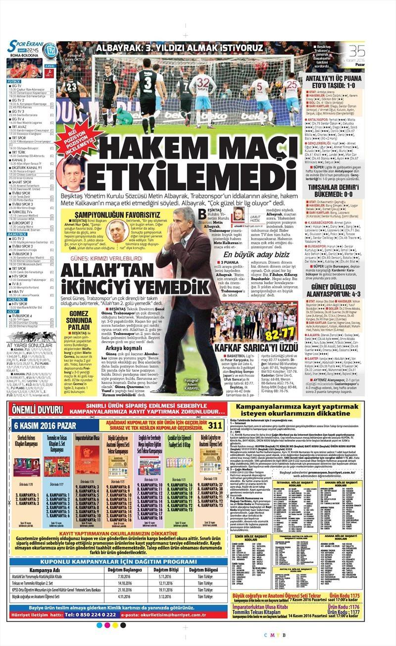6 Kasım 2016 | Gazetelerin Beşiktaş sayfaları 22