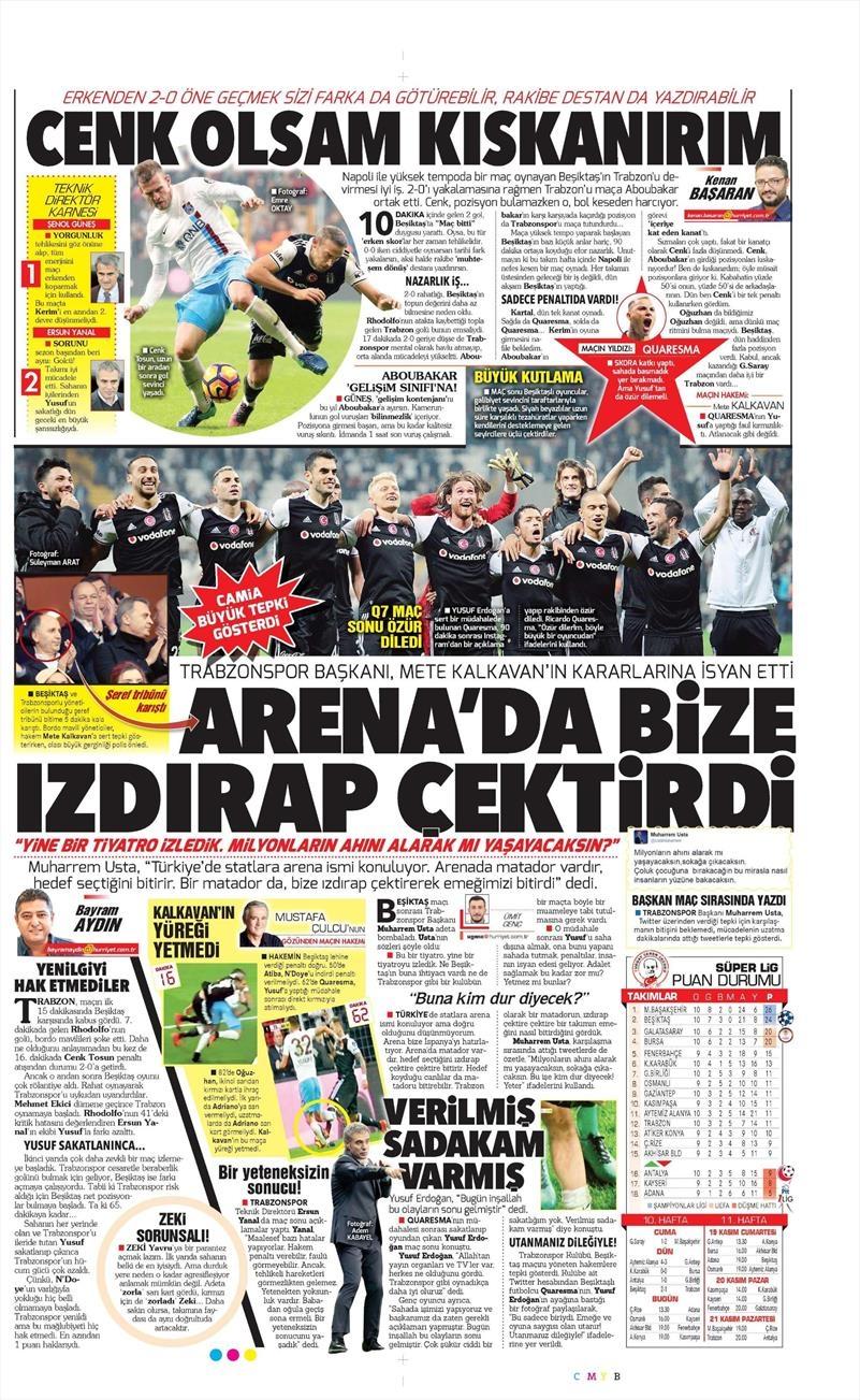 6 Kasım 2016 | Gazetelerin Beşiktaş sayfaları 23
