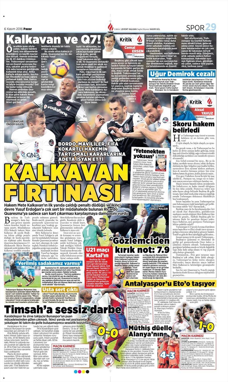 6 Kasım 2016 | Gazetelerin Beşiktaş sayfaları 25