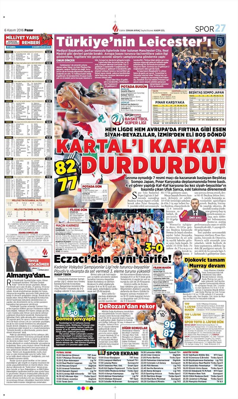 6 Kasım 2016 | Gazetelerin Beşiktaş sayfaları 26