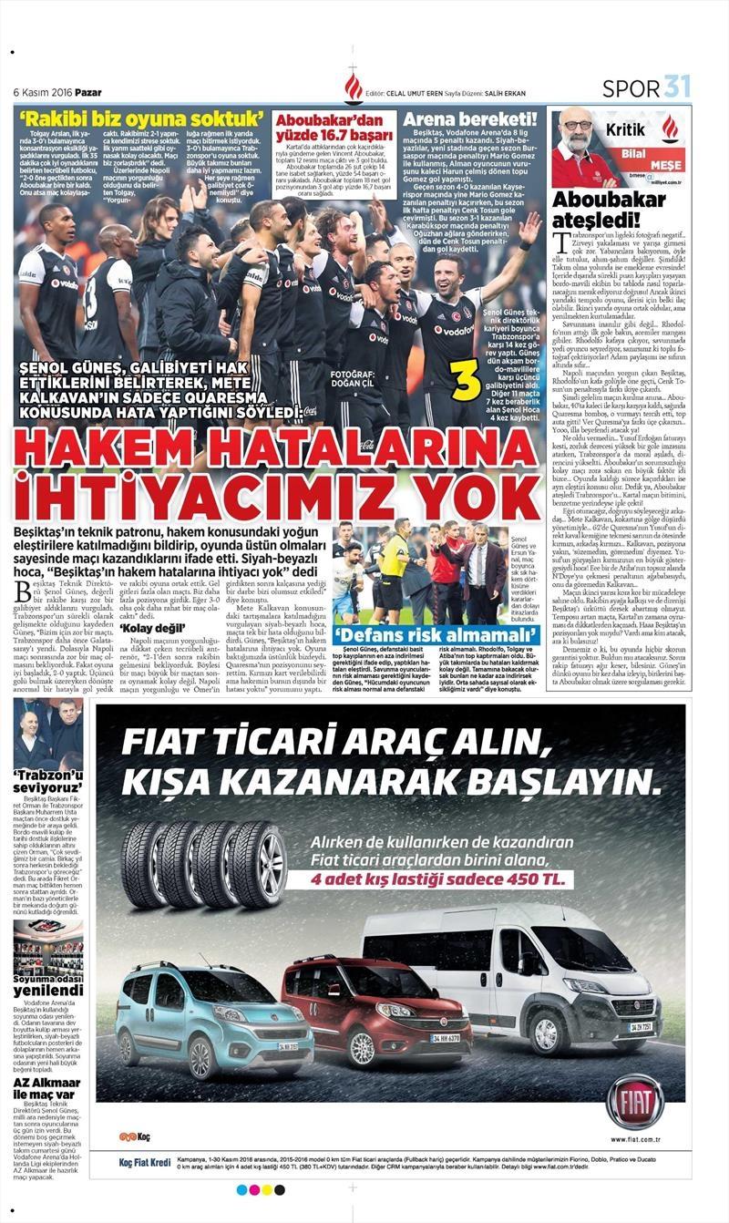 6 Kasım 2016 | Gazetelerin Beşiktaş sayfaları 27