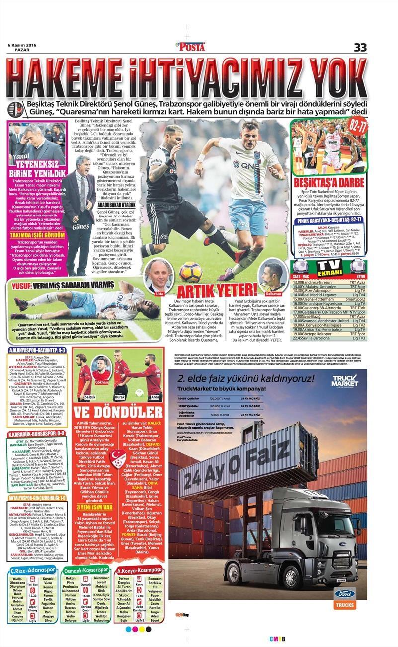 6 Kasım 2016 | Gazetelerin Beşiktaş sayfaları 29