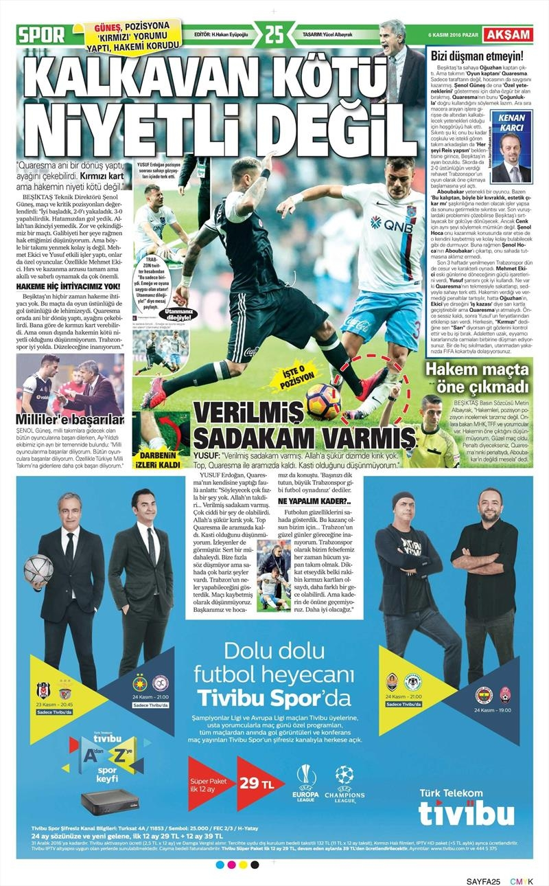 6 Kasım 2016 | Gazetelerin Beşiktaş sayfaları 3