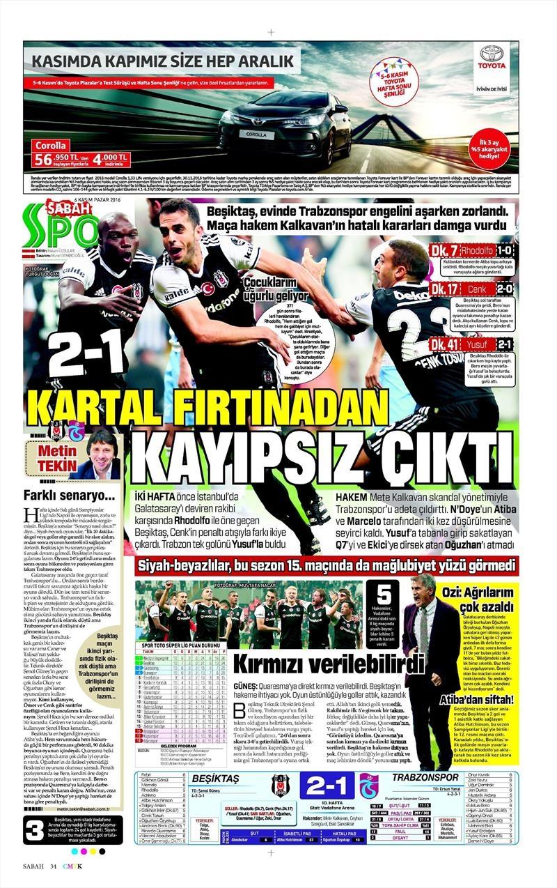 6 Kasım 2016 | Gazetelerin Beşiktaş sayfaları 30