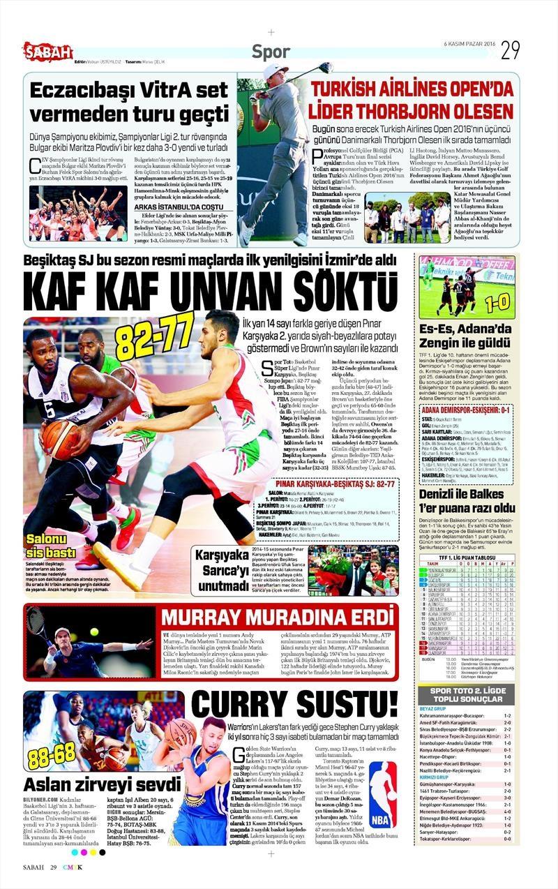 6 Kasım 2016 | Gazetelerin Beşiktaş sayfaları 32