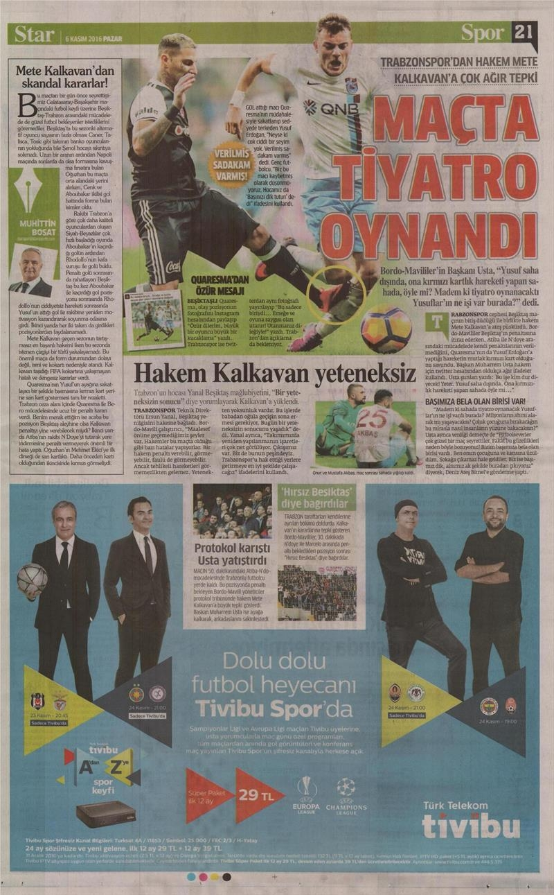 6 Kasım 2016 | Gazetelerin Beşiktaş sayfaları 34