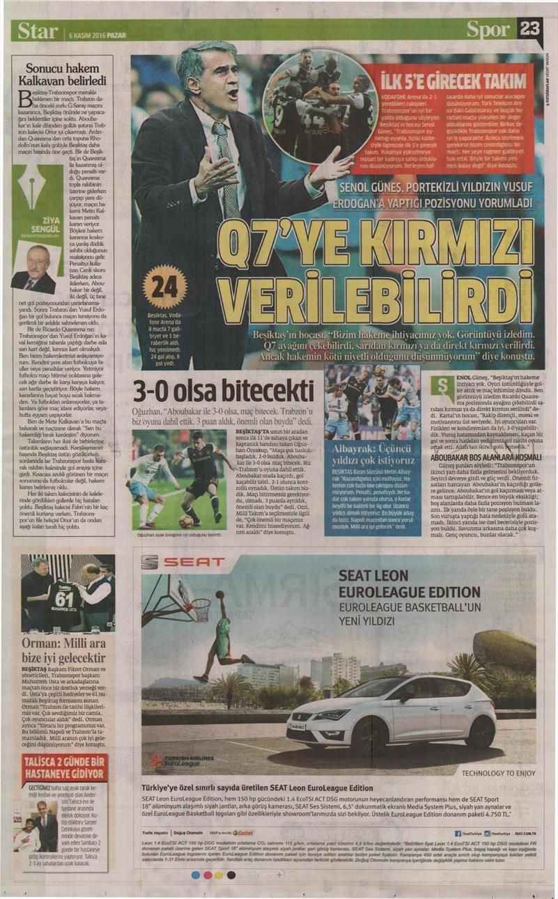 6 Kasım 2016 | Gazetelerin Beşiktaş sayfaları 35