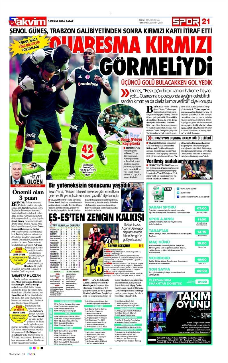 6 Kasım 2016 | Gazetelerin Beşiktaş sayfaları 37