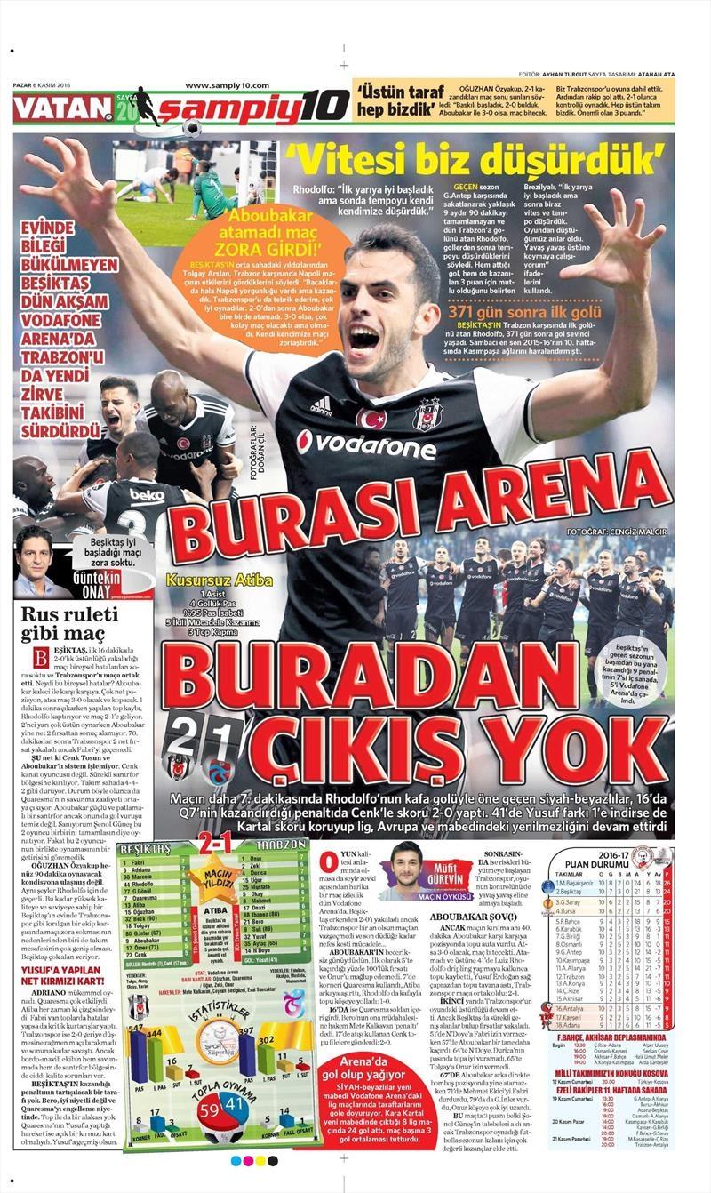 6 Kasım 2016 | Gazetelerin Beşiktaş sayfaları 39