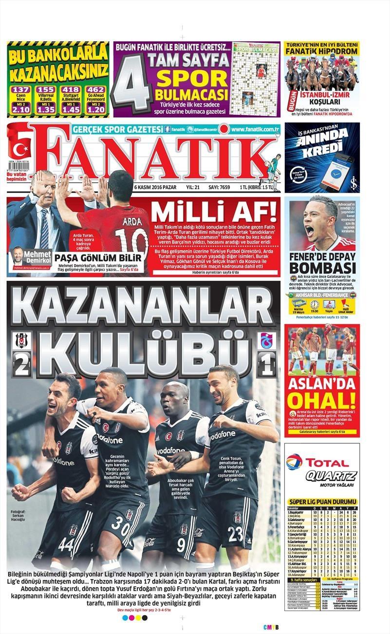 6 Kasım 2016   Gazetelerin Beşiktaş sayfaları 4