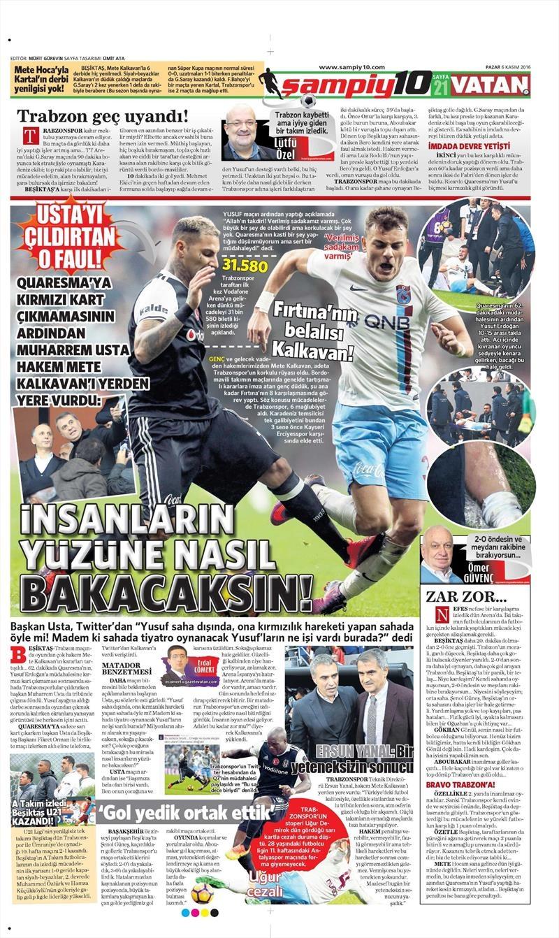6 Kasım 2016 | Gazetelerin Beşiktaş sayfaları 40
