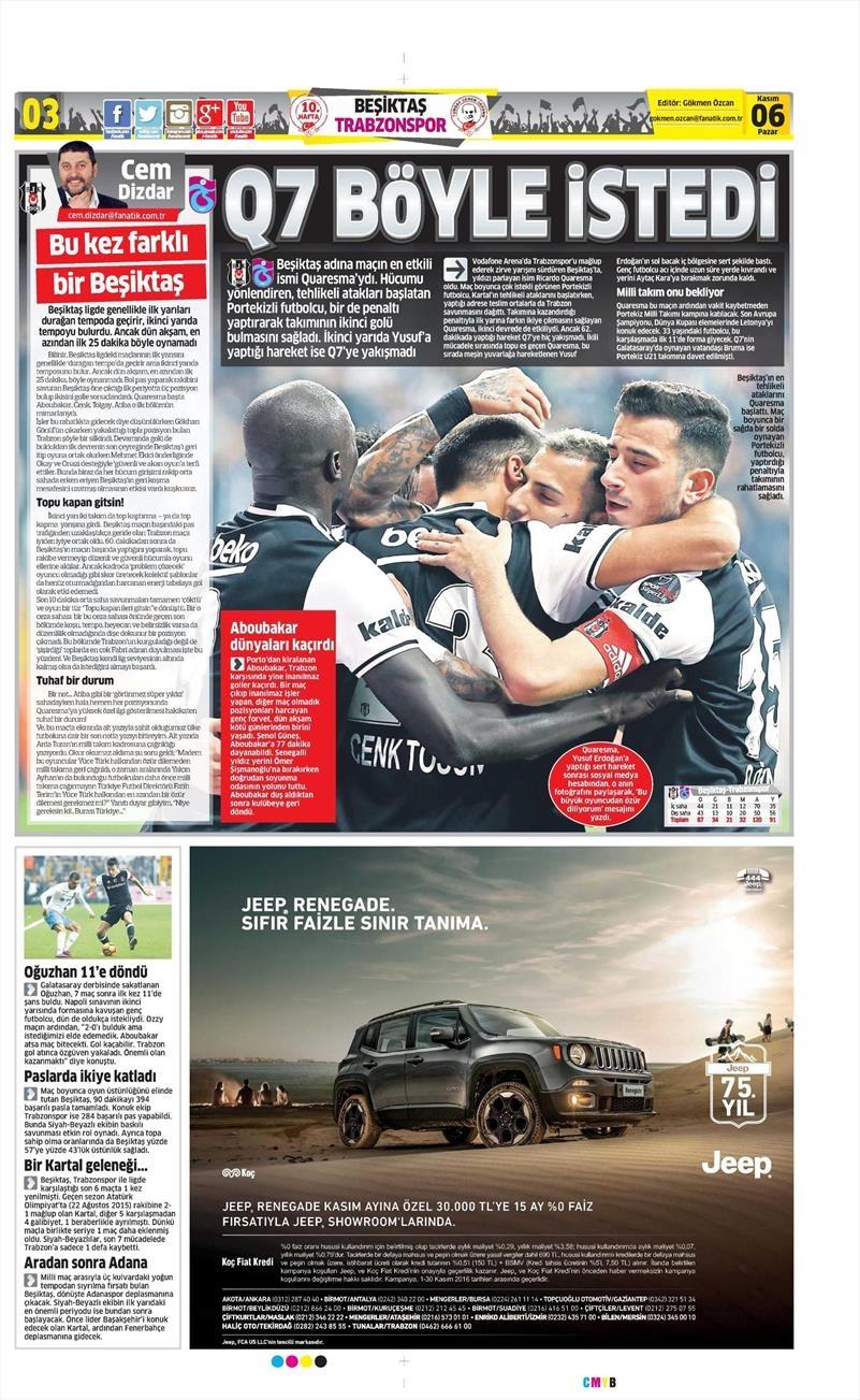 6 Kasım 2016 | Gazetelerin Beşiktaş sayfaları 6