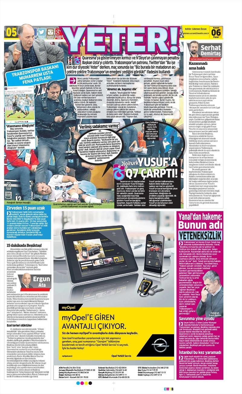 6 Kasım 2016 | Gazetelerin Beşiktaş sayfaları 8