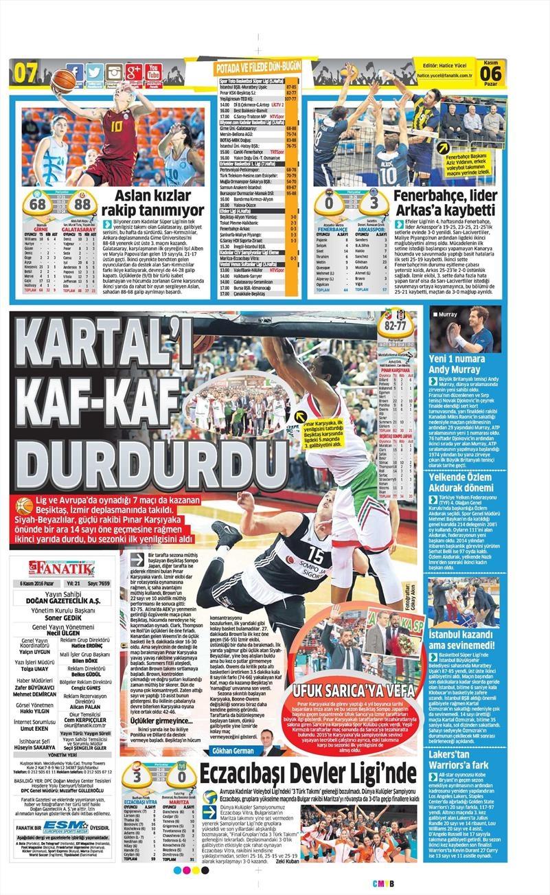 6 Kasım 2016 | Gazetelerin Beşiktaş sayfaları 9