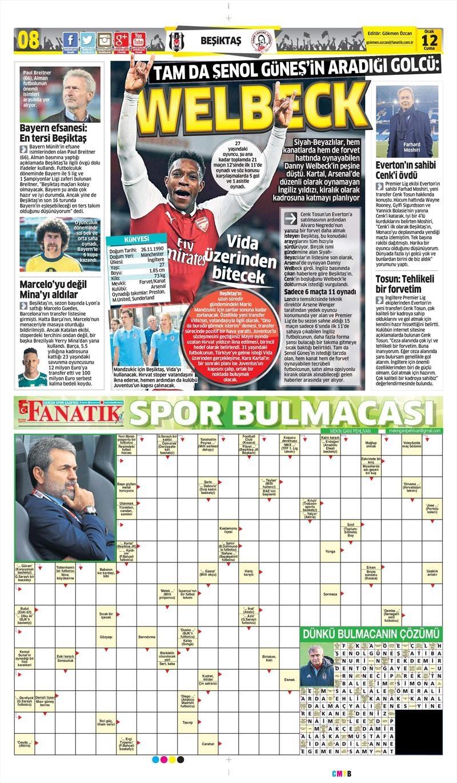 12 Ocak 2018 | Gazetelerin Beşiktaş Manşetleri 1