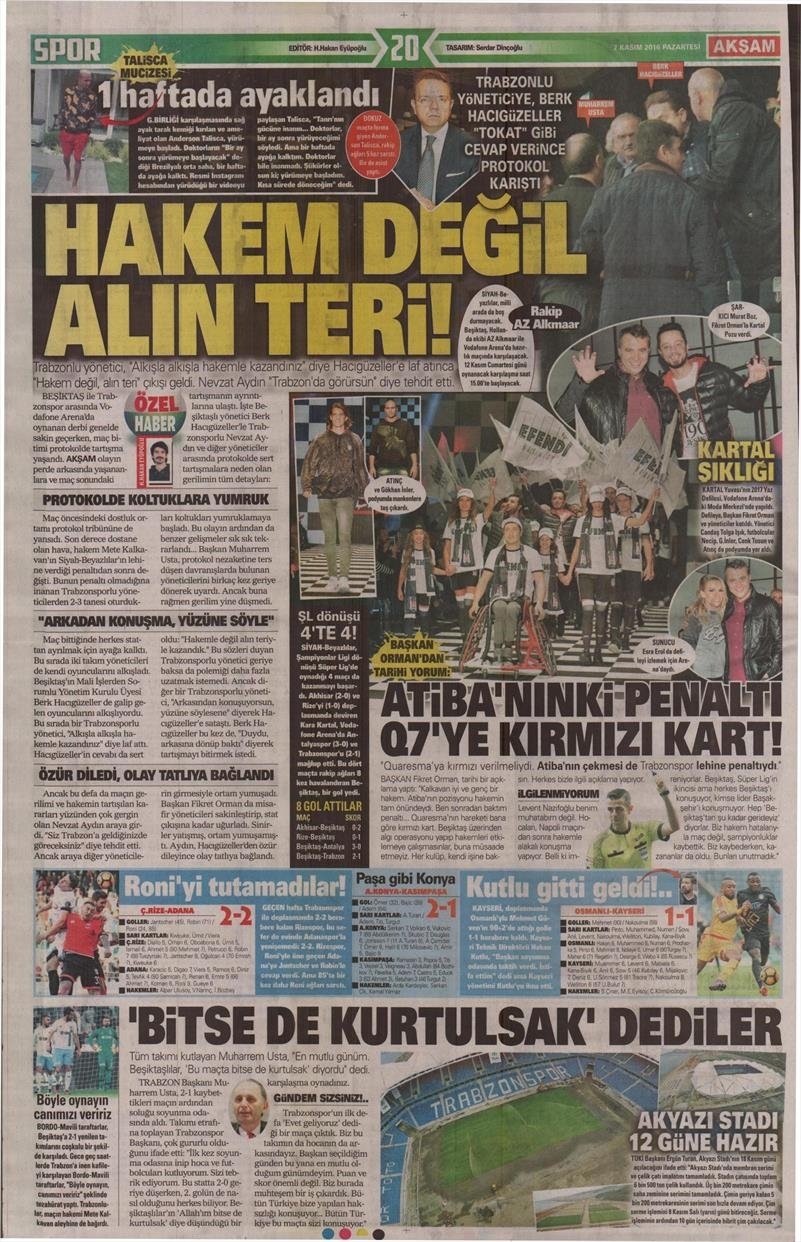 7 Kasım 2016   Gazetelerin Beşiktaş sayfaları 11