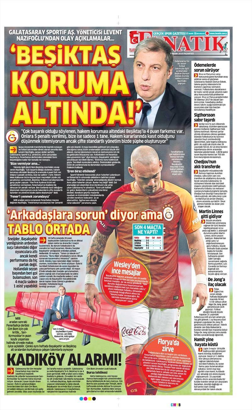 7 Kasım 2016   Gazetelerin Beşiktaş sayfaları 12