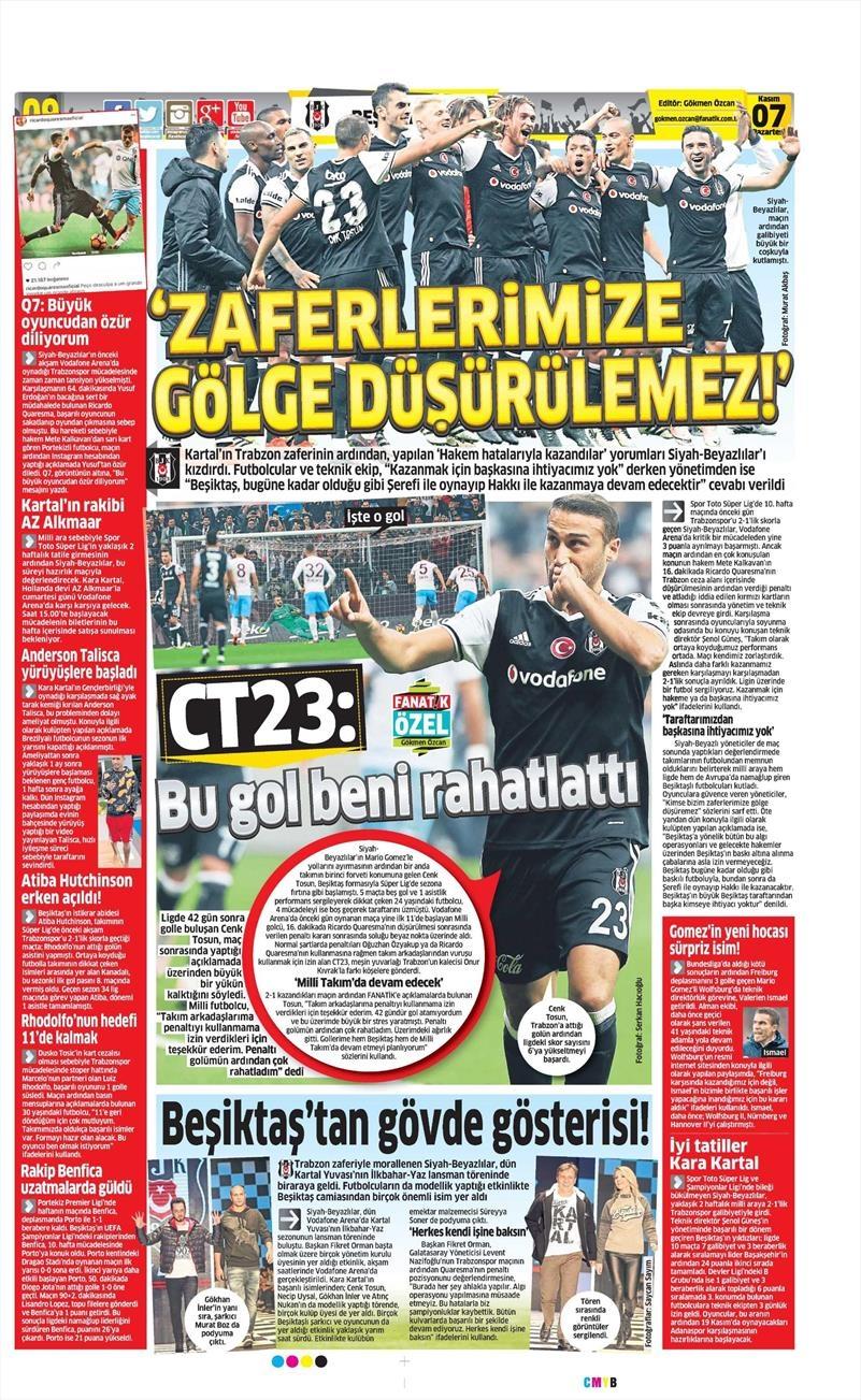 7 Kasım 2016 | Gazetelerin Beşiktaş sayfaları 13