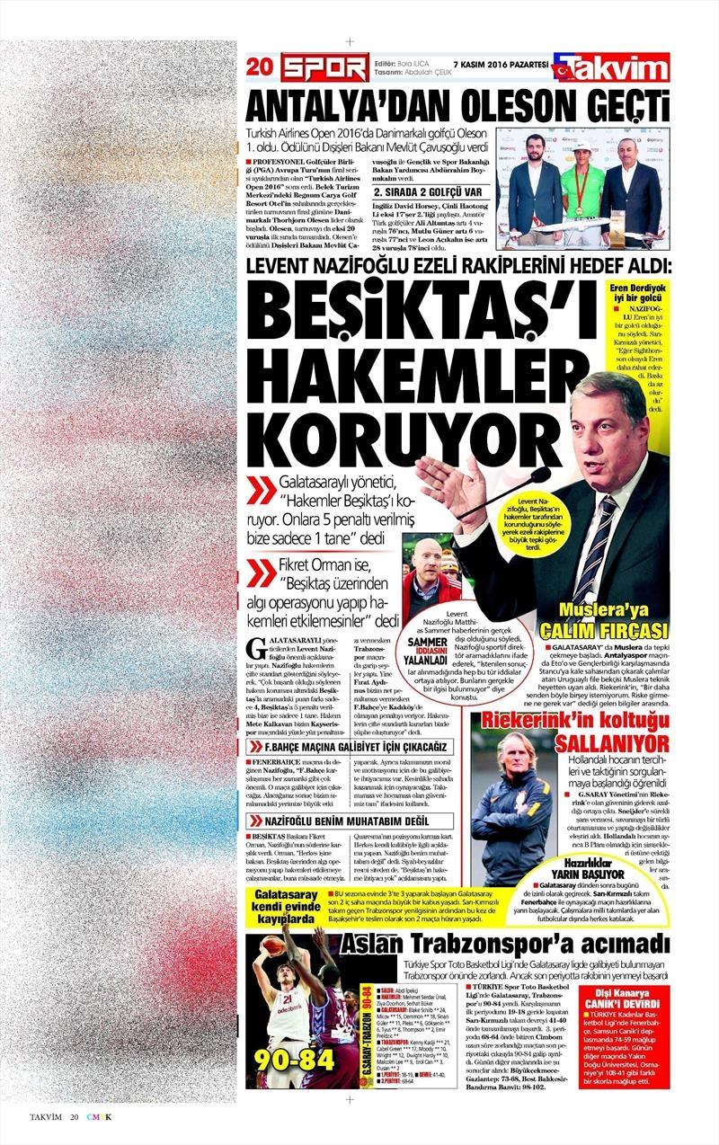 7 Kasım 2016 | Gazetelerin Beşiktaş sayfaları 3