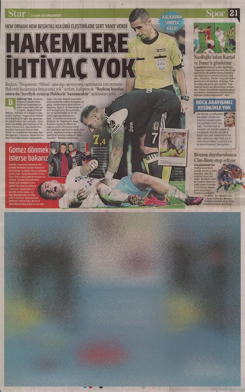 7 Kasım 2016 | Gazetelerin Beşiktaş sayfaları 4