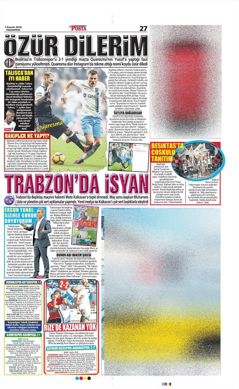7 Kasım 2016 | Gazetelerin Beşiktaş sayfaları 5