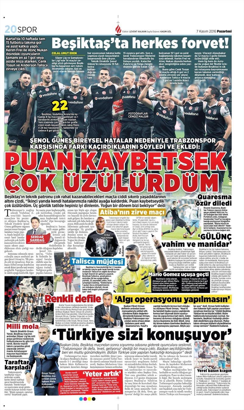 7 Kasım 2016 | Gazetelerin Beşiktaş sayfaları 6