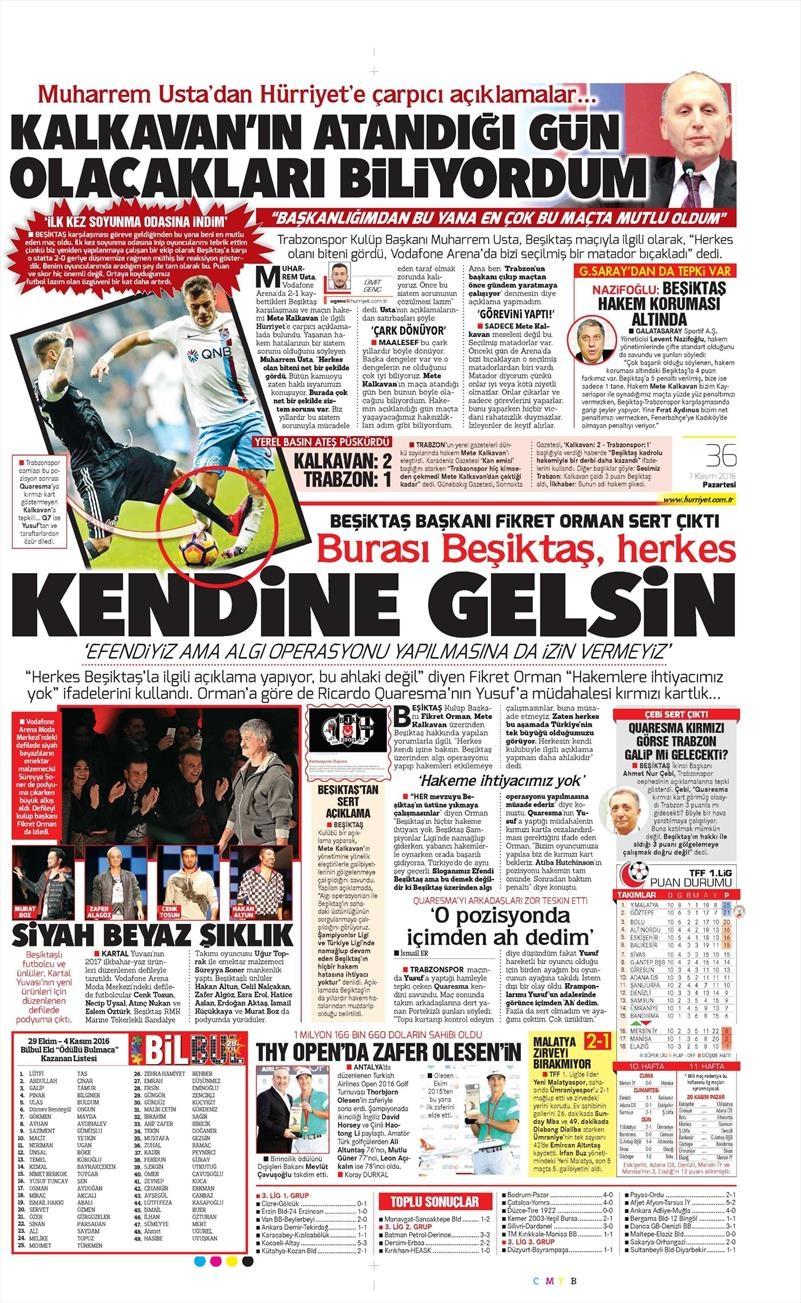 7 Kasım 2016 | Gazetelerin Beşiktaş sayfaları 7