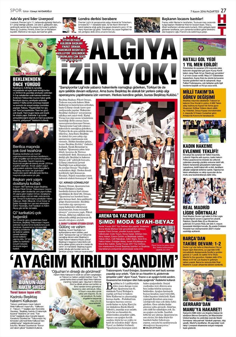 7 Kasım 2016 | Gazetelerin Beşiktaş sayfaları 8