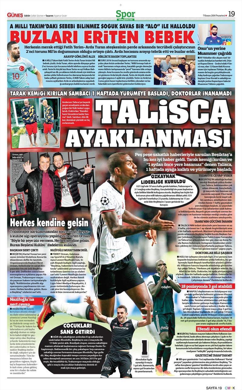 7 Kasım 2016 | Gazetelerin Beşiktaş sayfaları 9