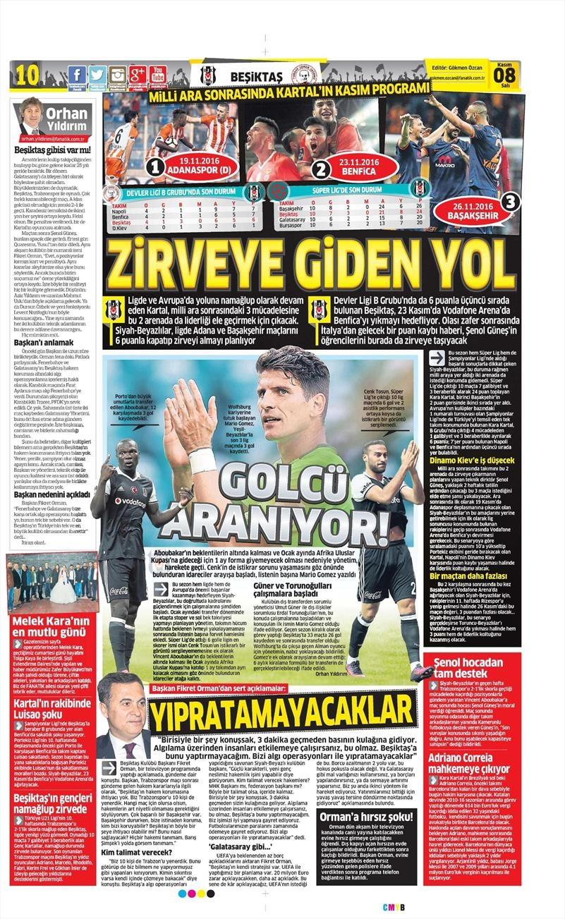 8 Kasım 2016 | Gazetelerin Beşiktaş sayfaları 1