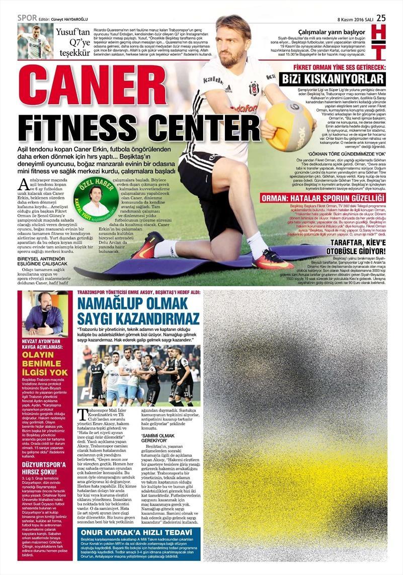 8 Kasım 2016   Gazetelerin Beşiktaş sayfaları 2