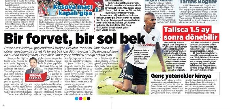 8 Kasım 2016 | Gazetelerin Beşiktaş sayfaları 3
