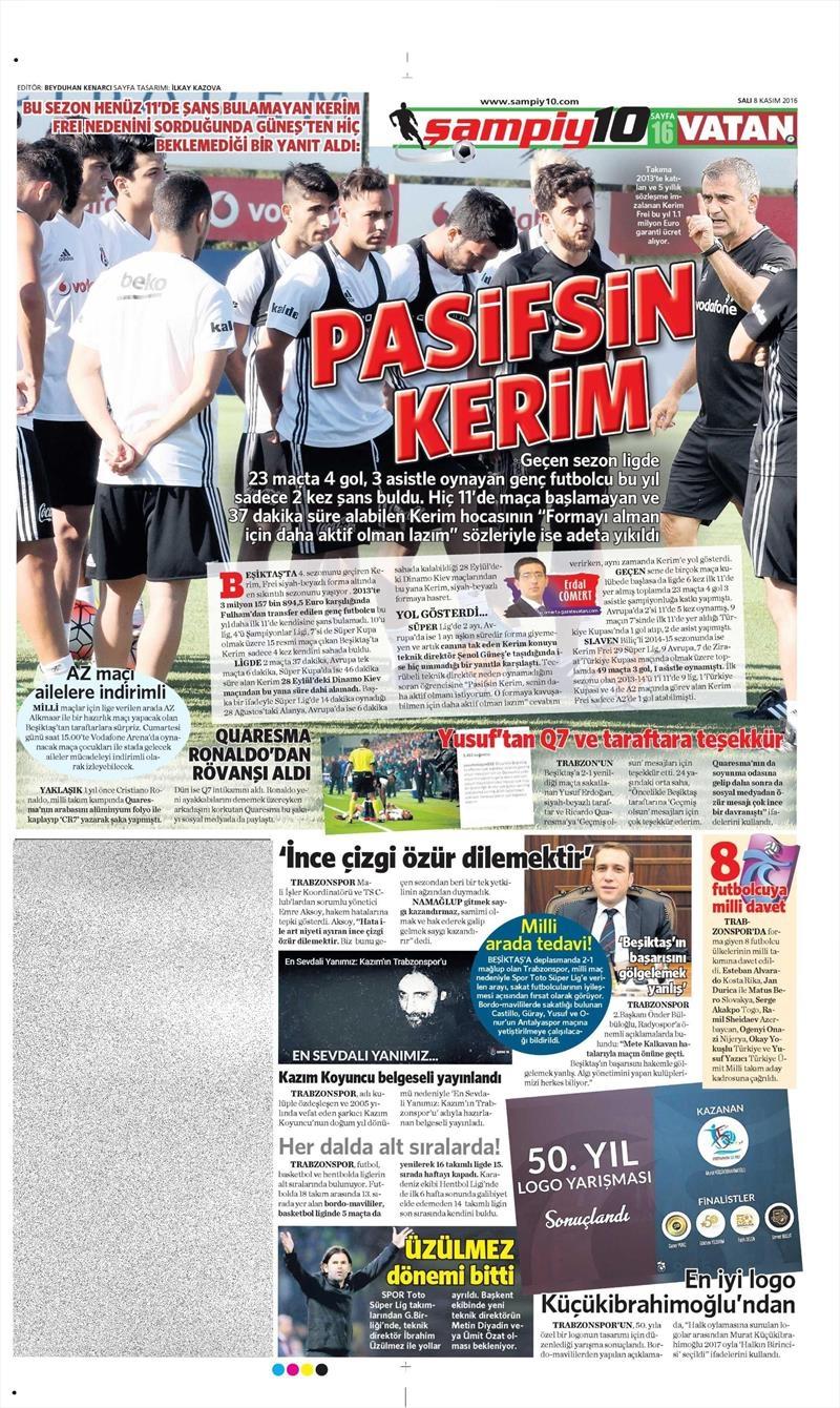 8 Kasım 2016 | Gazetelerin Beşiktaş sayfaları 5