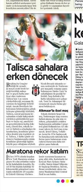 8 Kasım 2016 | Gazetelerin Beşiktaş sayfaları 6