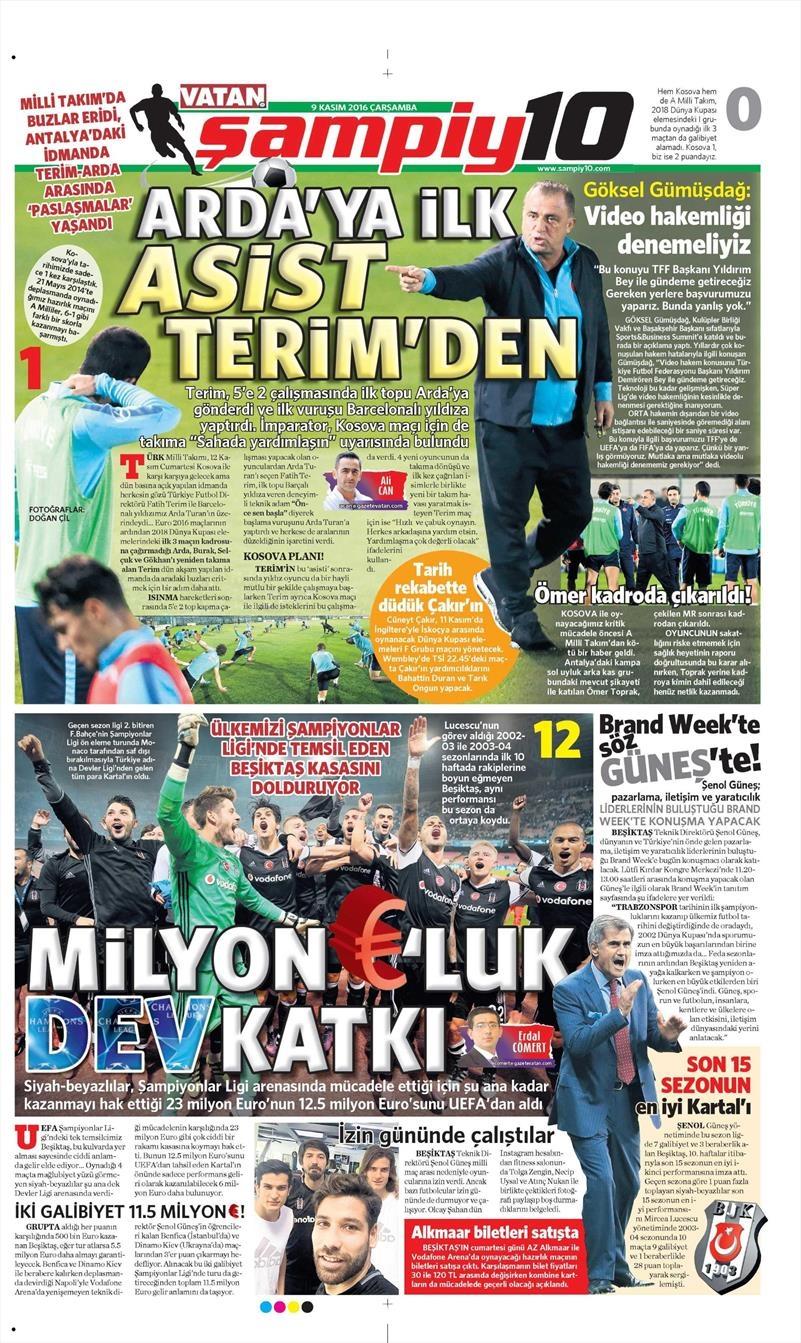 9 Kasım 2016 | Gazetelerin Beşiktaş sayfaları 1