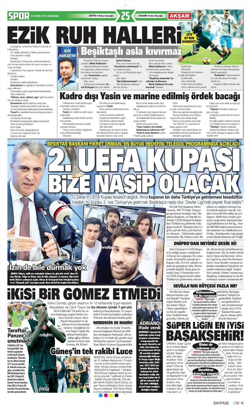 9 Kasım 2016   Gazetelerin Beşiktaş sayfaları 10