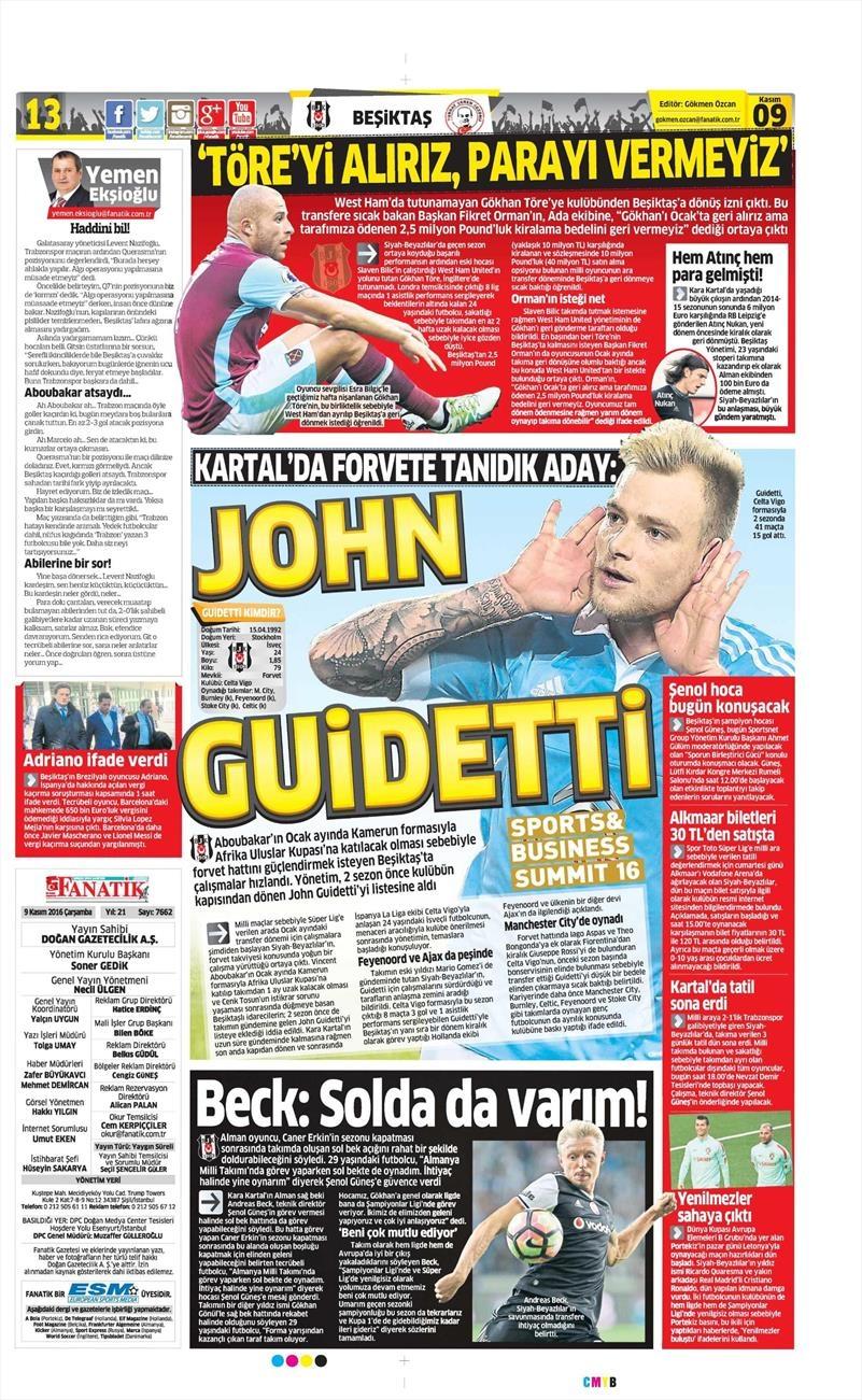 9 Kasım 2016 | Gazetelerin Beşiktaş sayfaları 12